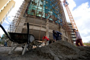 The economy expanded by 5.3 percent in 2014 boosted by construction