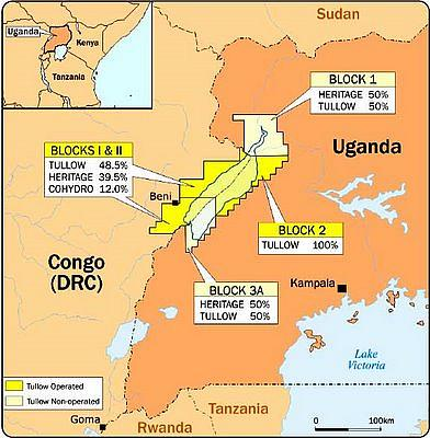 UK's Tullow Oil, French oil major Total and China National Offshore Oil Corporation (CNOOC) are developing Uganda's fields