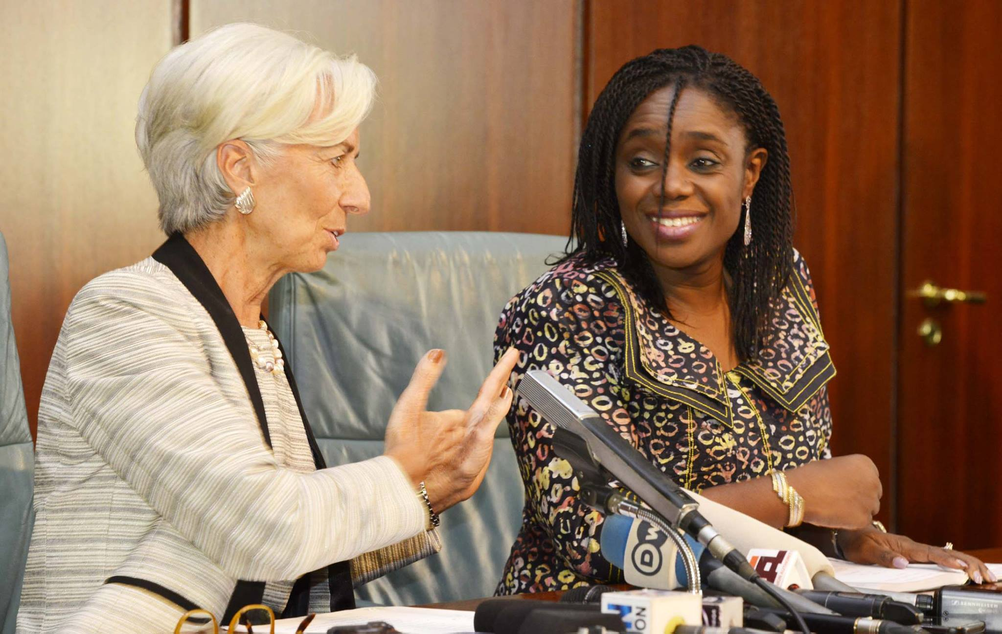 IMF managing director Christine Lagarde  with Nigeria's finance minister Kemi Adeosun during the former's recent visit to Nigeria